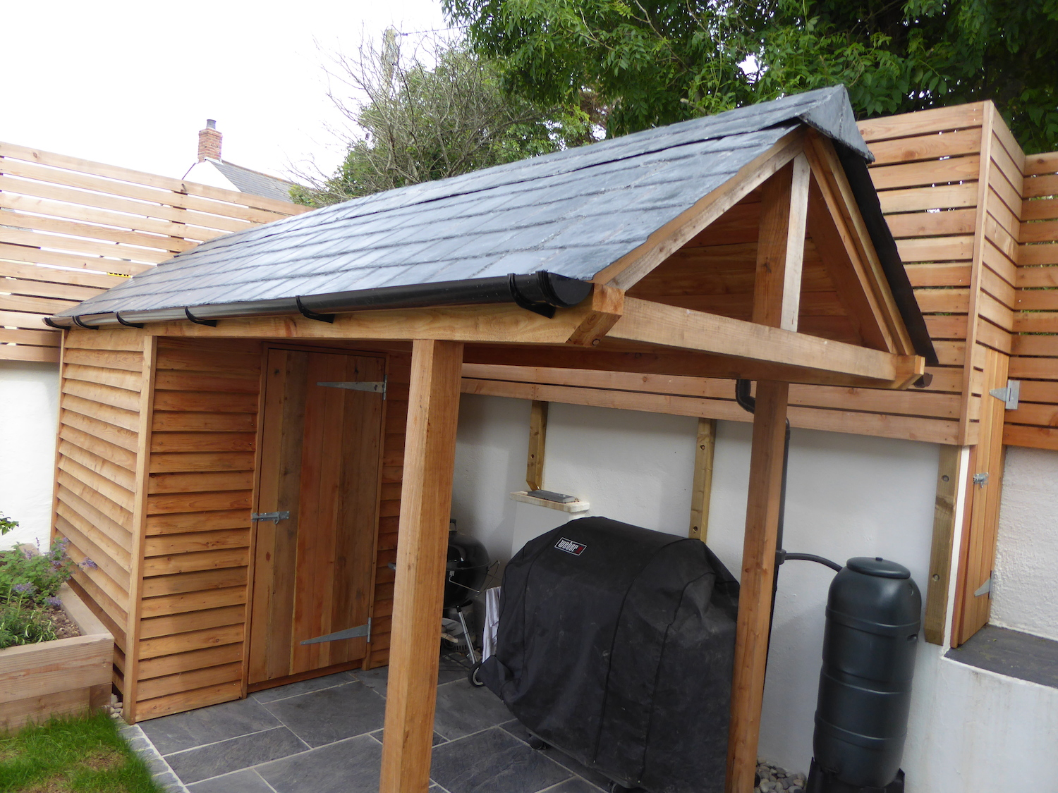 Fibreglass slate tiled roofing sheets on shed roof for Shed roofs