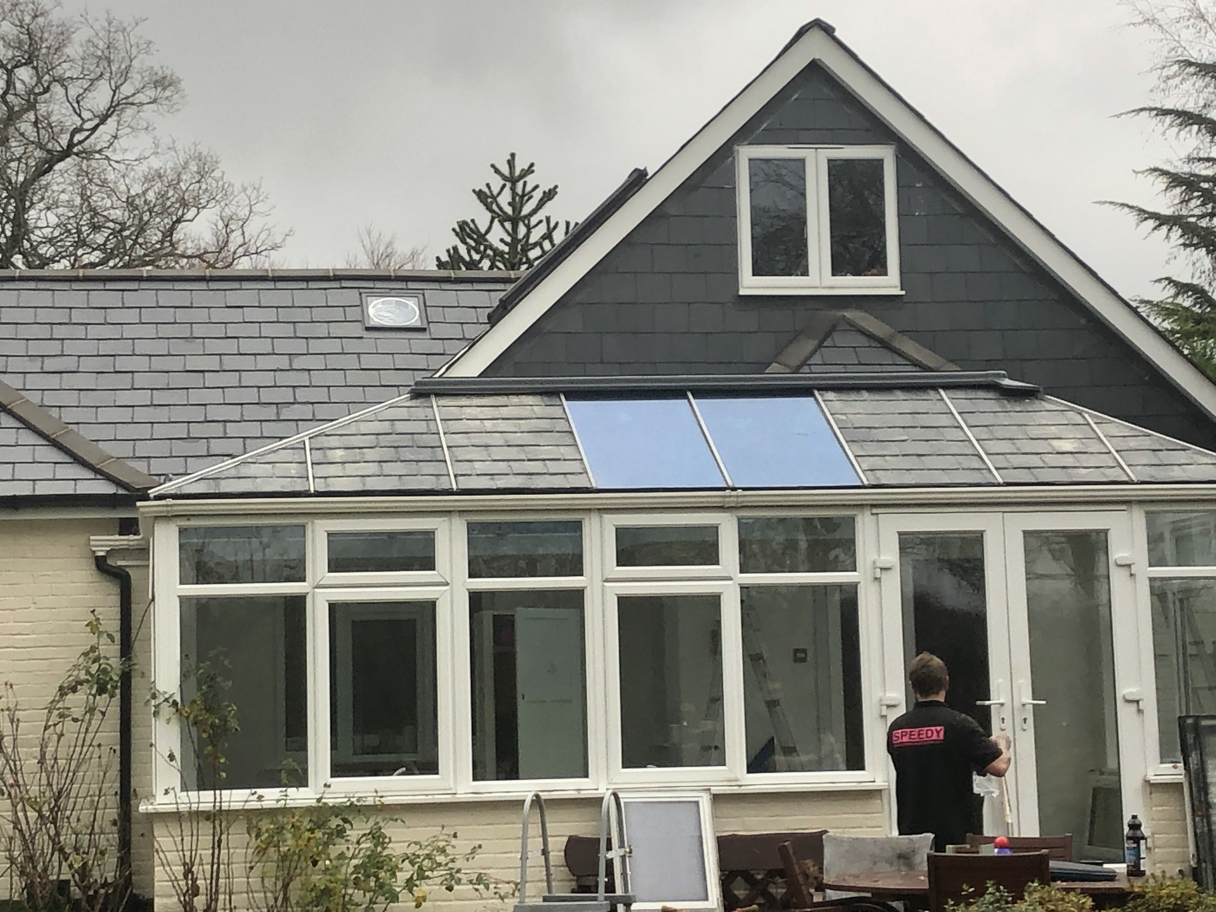 Solid Roof Conservatory With Grp Slate Tile Roofing Sheets