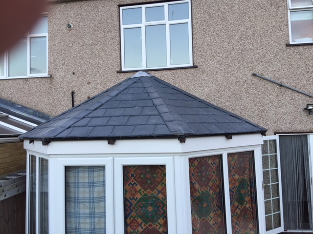 Conservatory With Fibreglass Slate Tile Roof Shapes Grp